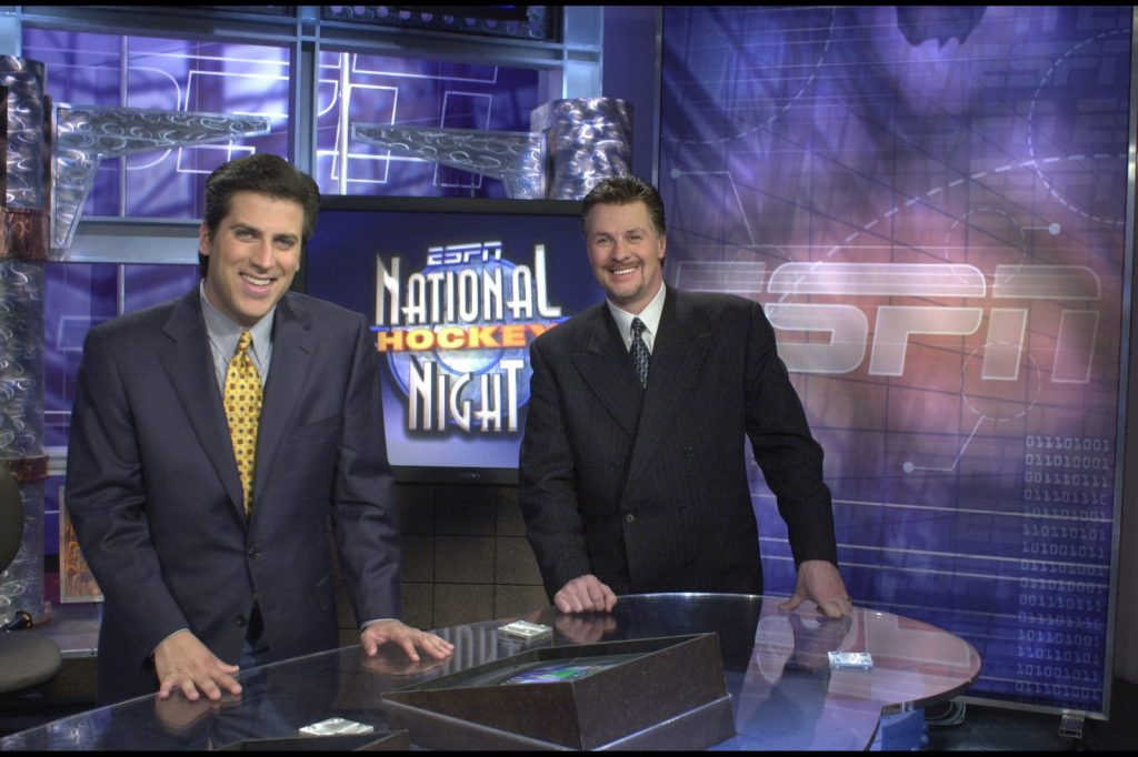 Steve Levy and Barry Melrose on the National Hockey Night Set